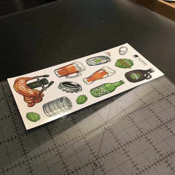 size reference for beer art stickers