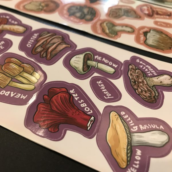 Ontario Mushroom Stickers Close Up