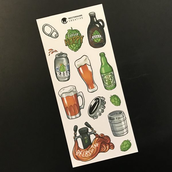 Illustrated Beer Art Stickers