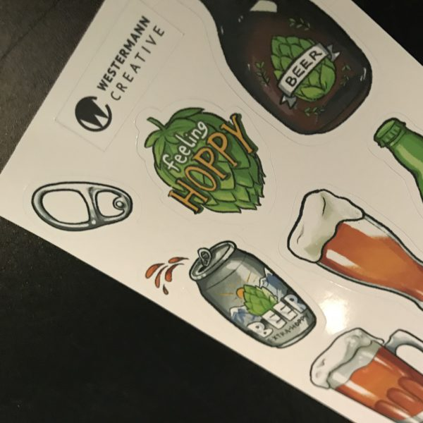 Close up, beer art stickers