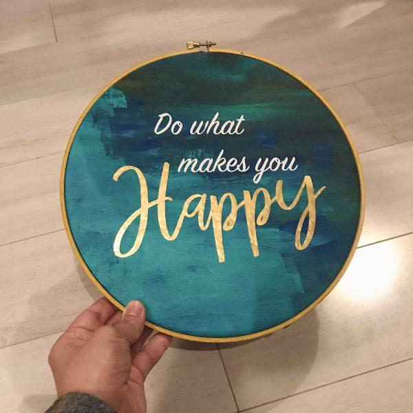 "Hand holding 10"" hoop art"