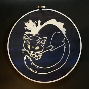 Acrylic and Vinyl Hoop Art, Silver and Gold