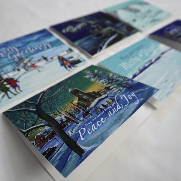 closeup of tbay christmas cards set