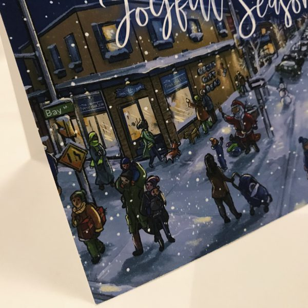 detailed view of streets of thunder bay illustration winter
