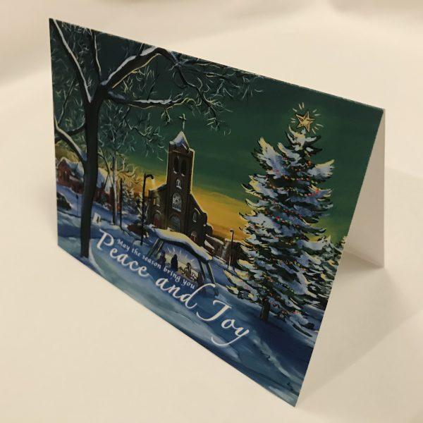 angle illustrated thunder bay winter scene christmas tree art card
