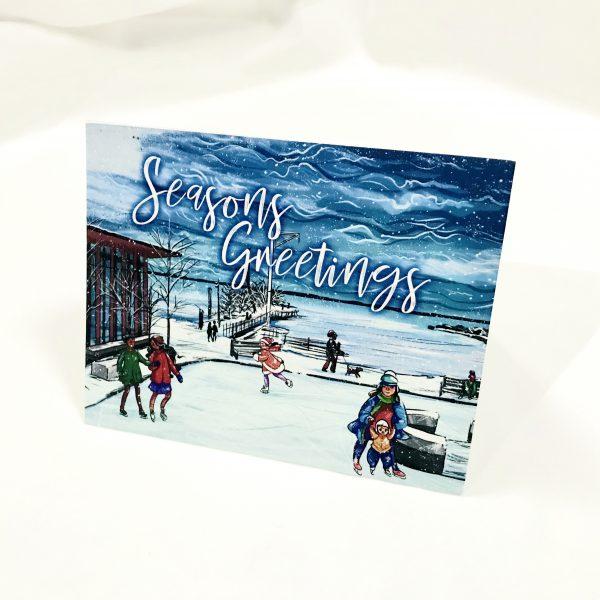 seasons greeting marina park skating card