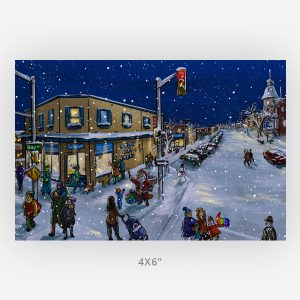 bay algoma window shopping 4x6 winter art print