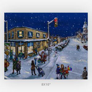 bay algoma window shopping 8x10 winter art print
