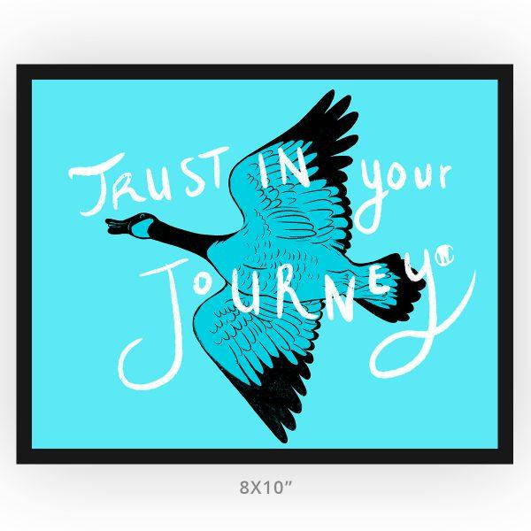 framed art print, inspirational trust in your journey 8x10