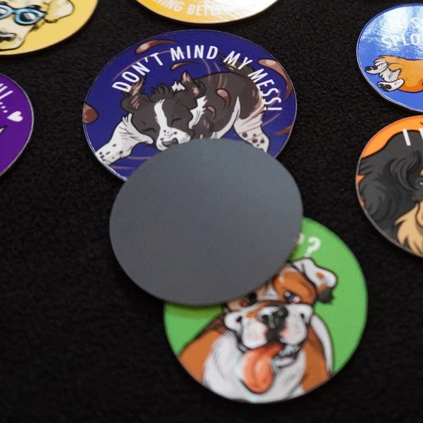 Backing appearance of flat magnets dog theme