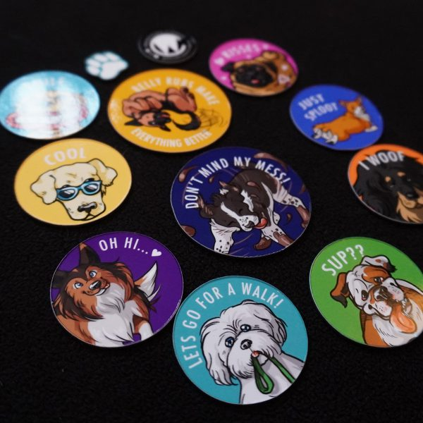 set of happy dawgs dog themed magnets