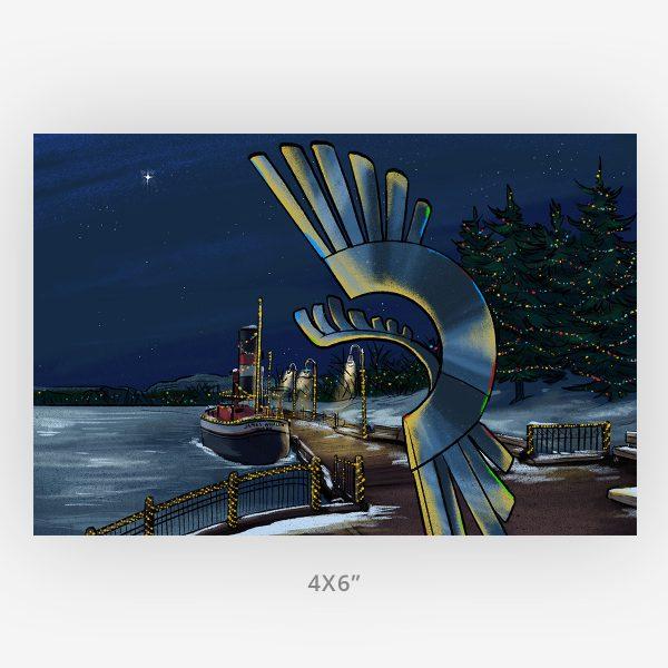 kam river christmas 4x6 Thunder Bay local art print