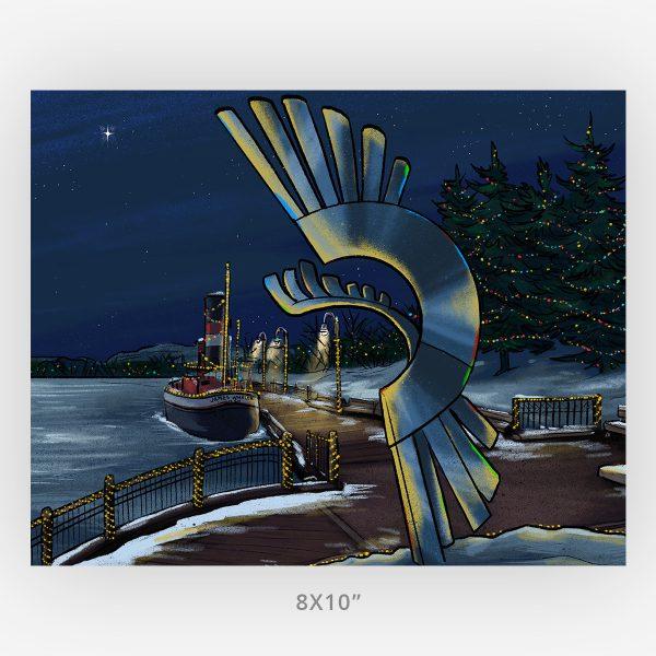 kam river christmas 8x10 large print winter scene Thunder Bay
