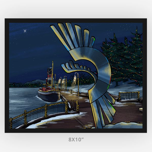 kam river christmas Thunder Bay artist framed 8x10 art print