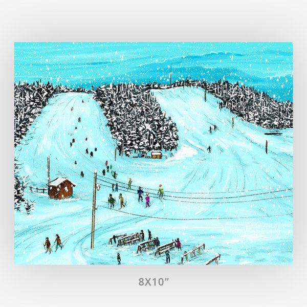 8x10 art print of illustrated mount baldy Thunder Bay art scene