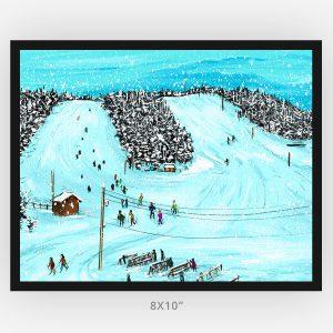 Mount Baldy Ski Trip framed 8x10 art print