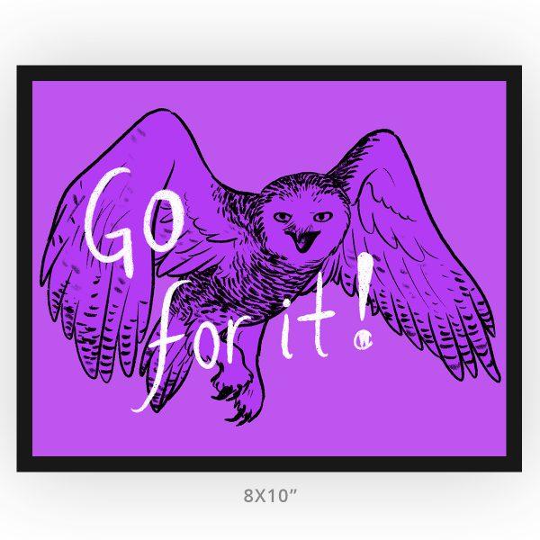 framed 8x10 art print, go for it! snowy owl in frame