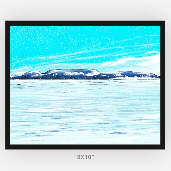 winter in Thunder Bay the sleeping giant snowy scene framed 8x10 art print