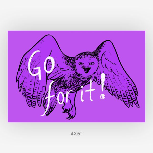 Minimalist 4x6 wall art snowy owl animal art