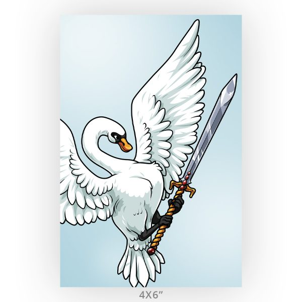 Swan and Sword Fantasy Art Wall Print