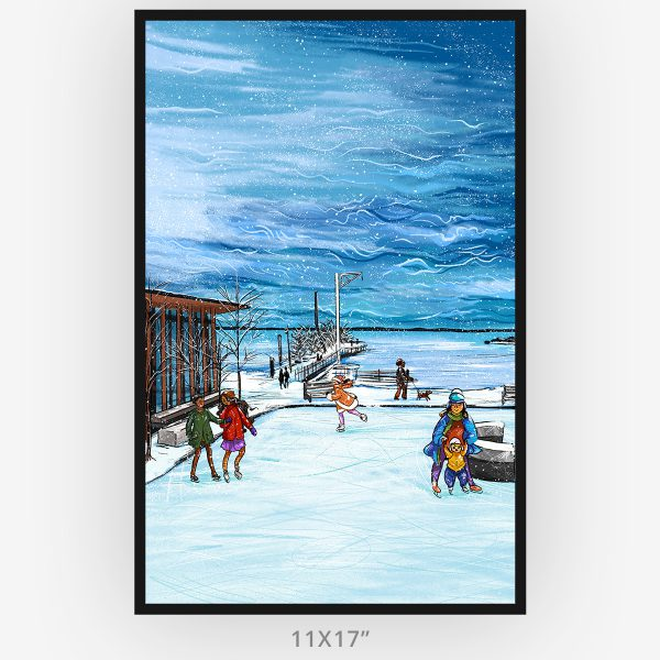 Winter at the marina by Thunder Bay artist Westermann Creative 11x17 in frame poster edition