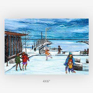 December 2020 the walleye artist Thunder Bay marina art print in 4x6
