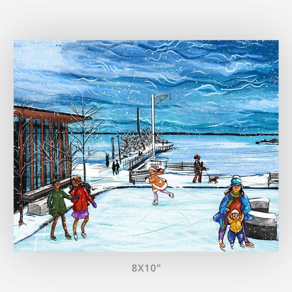 Thunder Bay Skating At The Marina artwork in 8x10