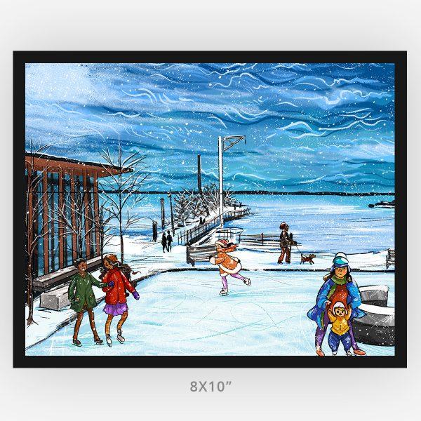 Framed 8x10 art print of Thunder Bay skating at the marina winter scene
