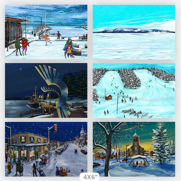 full collection of 6 Thunder Bay local art illustrations, 4x6 prints