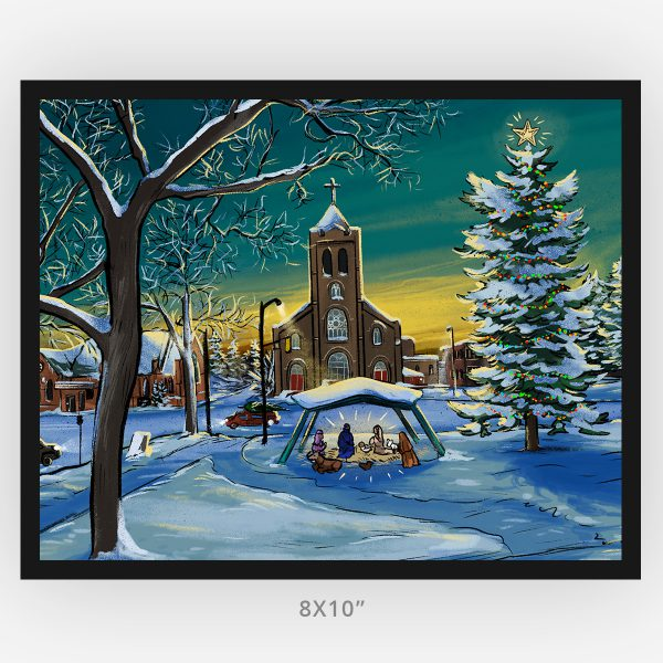 Thunder Bay Connaught Square Winter Scene illustrated by Westermann Creative, nativity scene